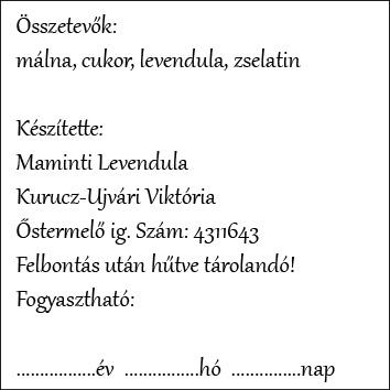 málna lekvár címke